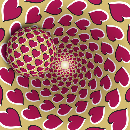 Optical illusion illustration. A ball with a hearts pattern is moving on rotating pink hearts golden funnel. Abstract fantasy in a surreal style. Illustration