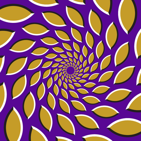 Optical illusion background. Golden pointed ellipses are moving circularly from the center on purple background. Golden hearts background.