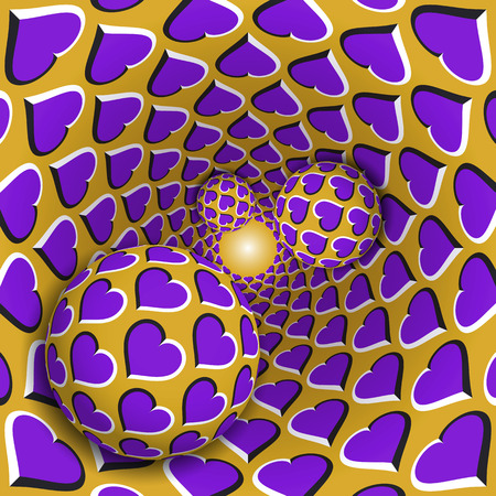 Optical illusion illustration. Three balls with a hearts pattern are moving on rotating purple hearts golden funnel. Abstract fantasy in a surreal style.