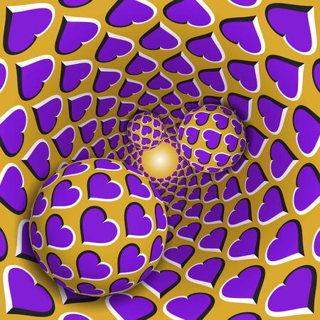 Illustrazione illusione ottica. Tre palle con un motivo a cuori si stanno muovendo su rotanti cuori viola imbuto d'oro. Fantasia astratta in uno stile surreale.