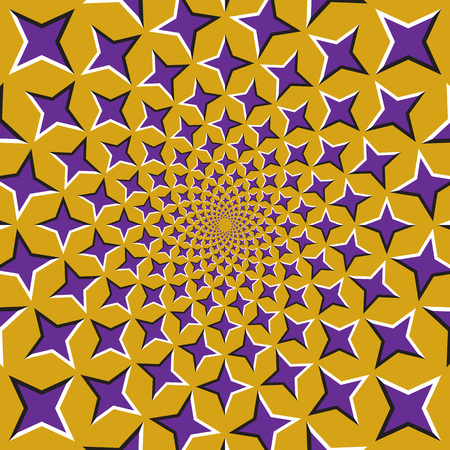 Optische illusie achtergrond. Paarse vierpuntige sterren bewegen cirkelvormig vanuit het midden op een gouden achtergrond. Paarse sterren achtergrond.