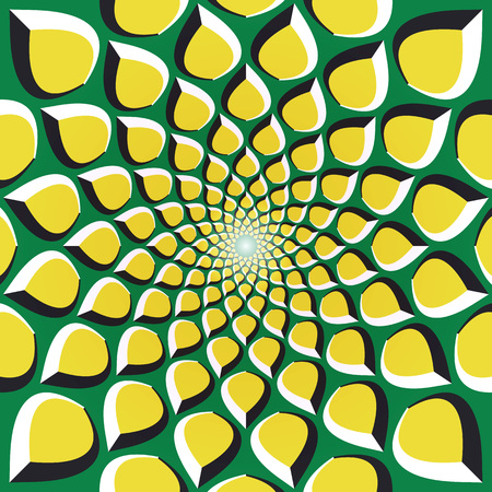 Optical illusion background. Yellow petals are moving circularly from the center on green background. Yellow green motion background.