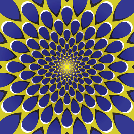 Optical illusion background. Blue drops fly away circularly from the center on yellow background. Yellow blue motion background.
