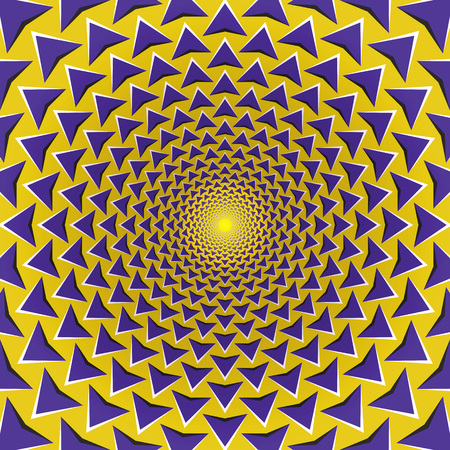 Optical illusion background. Purple arrows fly away circularly from the center on yellow background. Yellow purple motion background. Stock Illustratie
