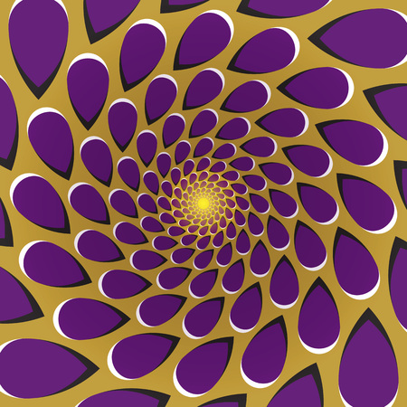 Optical illusion background. Purple drops fly away circularly around the center on golden background. Golden purple motion background. Stock Illustratie