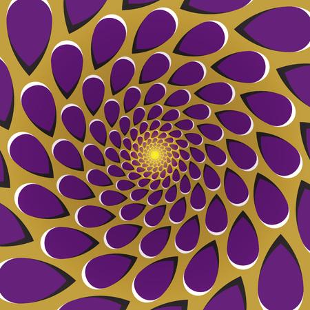 Optische illusie achtergrond. Paarse druppels vliegen rond het centrum weg op een gouden achtergrond. Gouden paarse beweging achtergrond.