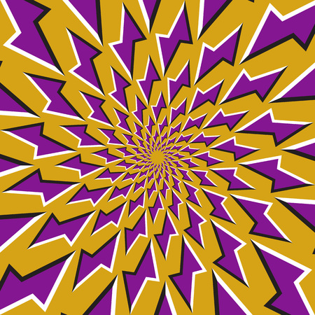 Optical illusion background. Purple lightnings revolves circularly around the center on golden background. Purple stars background. Illustration