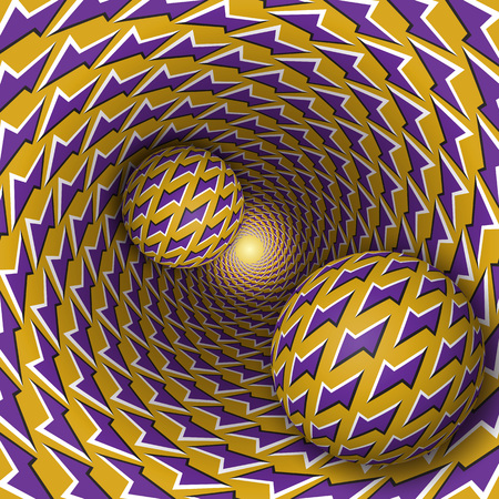 Optical illusion illustration. Two balls with lightnings pattern are moving on rotating purple lightnings yellow funnel. Abstract fantasy in a surreal style. Illustration