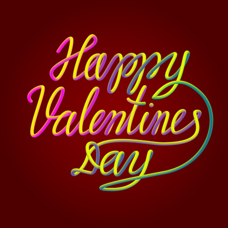 Happy Valentines Day colorful blended 3d lettering text for greeting card design.
