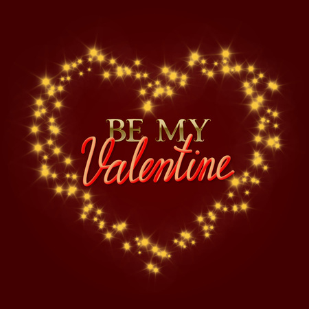 Be My Valentine golden and gradient luminous lettering text in stellar stream in heart form. Valentines Day greeting card design. Illustration