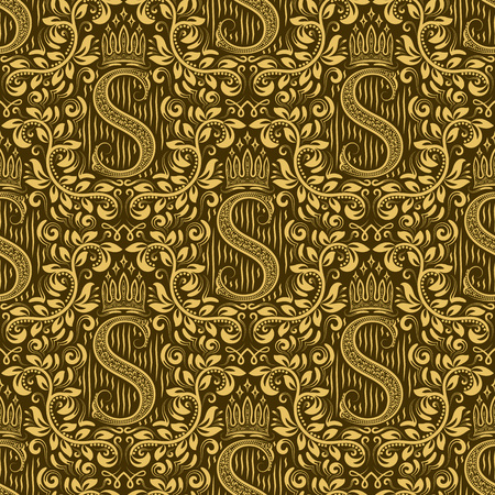 Damask seamless pattern repeating background. Golden olive floral ornament with S letter and crown in baroque style. Antique golden repeatable wallpaper.