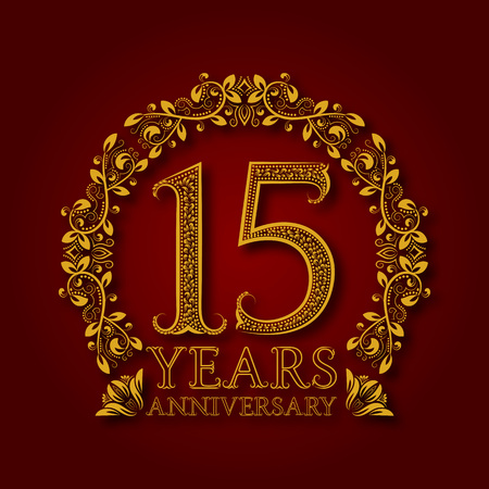 Golden emblem of fifteenth years anniversary. Celebration patterned logotype with shadow on red.