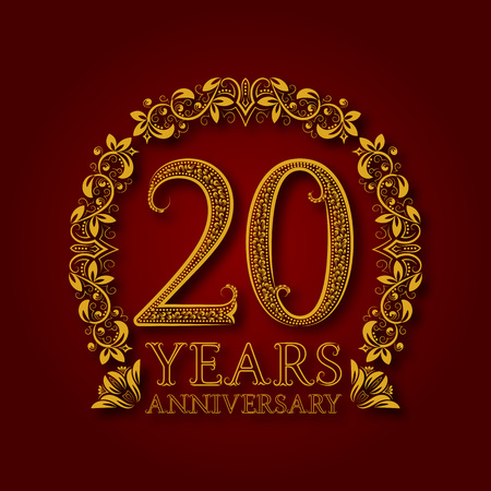 Golden emblem of twentieth years anniversary. Celebration patterned logotype with shadow on red.