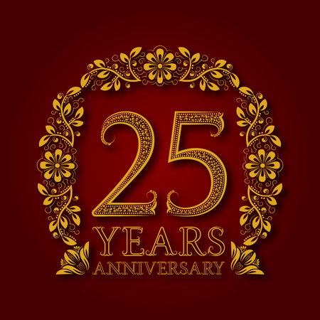 Golden emblem of twenty fifth years anniversary. Celebration patterned logotype with shadow on red.
