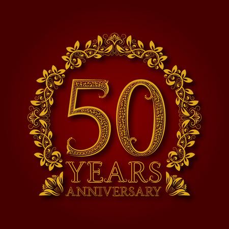 50 주년의 황금 상징입니다. 빨간색으로 그림자와 축 하 무늬 된 로고입니다. 스톡 콘텐츠 - 94138133