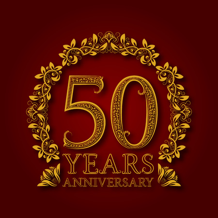 Golden emblem of fiftieth years anniversary. Celebration patterned logotype with shadow on red. 写真素材 - 94138133