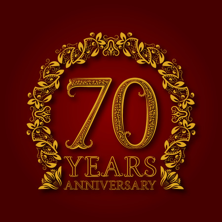 Golden emblem of seventieth years anniversary. Celebration patterned logotype with shadow on red.