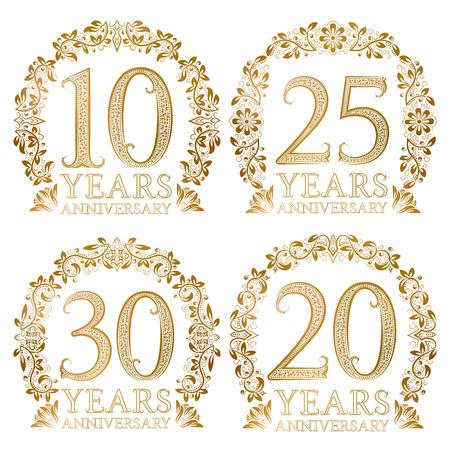 Set of golden anniversary seals. Tenth, twentieth, twenty fifth, thirtieth years signs in vintage style. Ilustrace