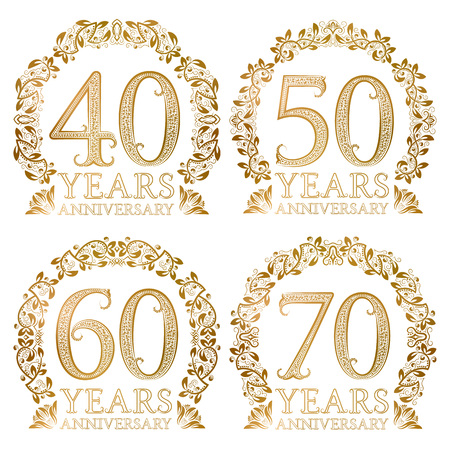 Set of golden anniversary seals. Fortieth, fiftieth, sixtieth, seventieth years signs in vintage style.