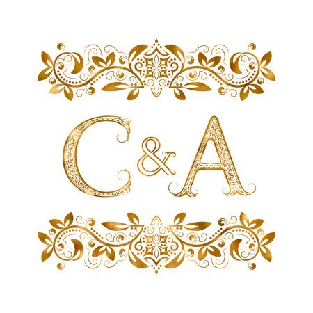 C&A vintage initialen logo symbool. Letters C, A, ampersand omringd bloemenornament. Bruiloft of zakelijke partners initialen monogram in koninklijke stijl. Stock Illustratie