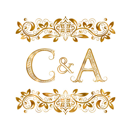 C&A vintage initials logo symbol. Letters C, A, ampersand surrounded floral ornament. Wedding or business partners initials monogram in royal style. Illustration