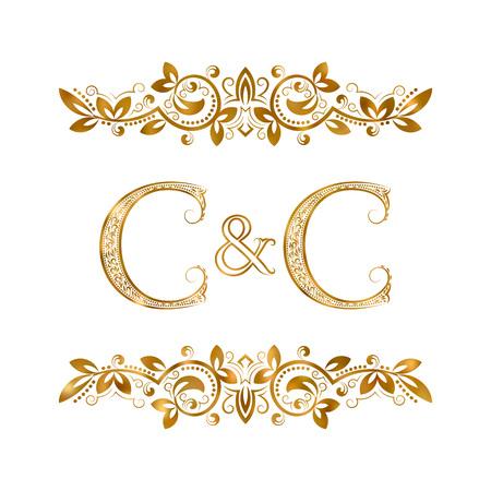 C&C vintage initialen logo symbool. Twee letters C, ampersand omringd bloemenornament. Bruiloft of zakelijke partners initialen monogram in koninklijke stijl.