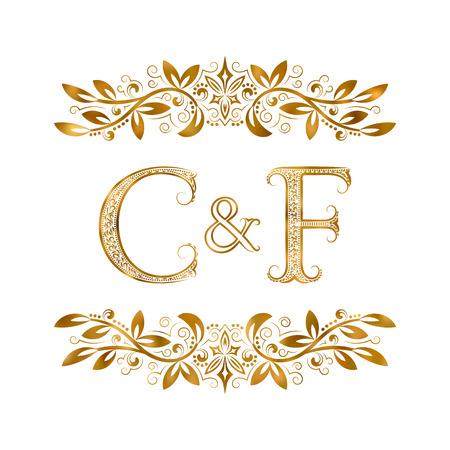 C & F vintage initialen logo symbool. Letters C, F, ampersand omringd bloemenornament. Bruiloft of zakelijke partners initialen monogram in koninklijke stijl.