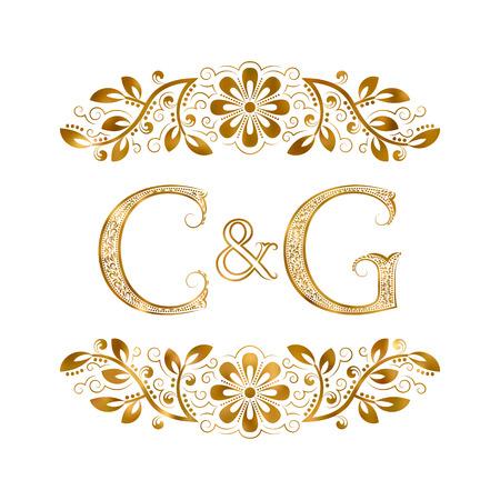C&G vintage initialen logo symbool. Letters C, G, ampersand omringd bloemenornament. Bruiloft of zakelijke partners initialen monogram in koninklijke stijl. Stock Illustratie