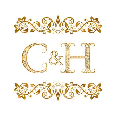 C&H vintage initialen logo symbool. Letters C, H, ampersand omringd bloemenornament. Bruiloft of zakelijke partners initialen monogram in koninklijke stijl.