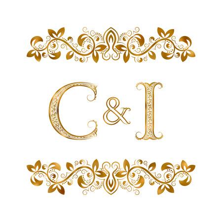 C&I vintage initialen logo symbool. Letters C, I, ampersand omringd bloemenornament. Bruiloft of zakelijke partners initialen monogram in koninklijke stijl. Stock Illustratie