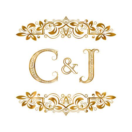 C&J vintage initialen logo symbool. Letters C, J, ampersand omringd bloemenornament. Bruiloft of zakelijke partners initialen monogram in koninklijke stijl.