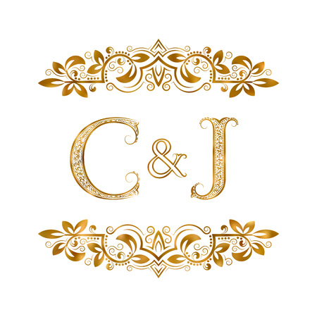 C&J vintage initials logo symbol. Letters C, J, ampersand surrounded floral ornament. Wedding or business partners initials monogram in royal style.