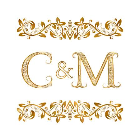 C&M vintage initialen logo symbool. De letters zijn omgeven door sierelementen. Bruiloft of zakelijke partners monogram in koninklijke stijl.