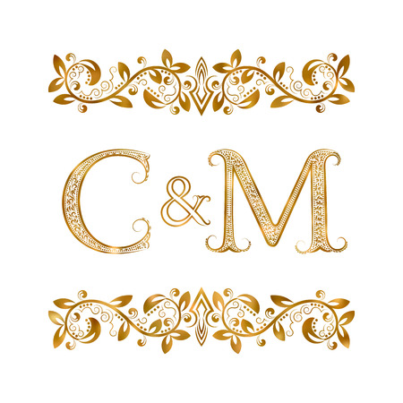 C&M ヴィンテージ イニシャル ロゴ シンボル。文字は装飾的な要素に囲まれています。ロイヤルスタイルの結婚式やビジネスパートナーモノグラム。