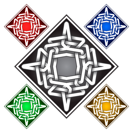 Rhombus icon template in Celtic knots style. Stylish tattoo symbol. Silver ornament for jewelry design and samples of other colors.
