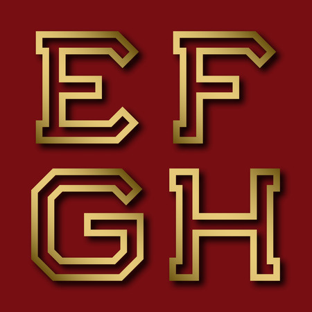 E, F, G, H gold angular letters with shadow. Trendy and stylish golden font. Ilustração