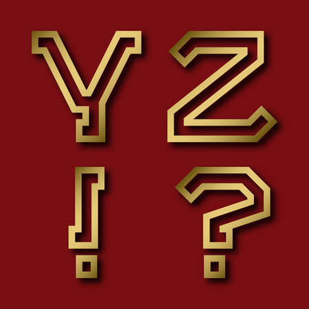 Y, Z gold angular letters, exclamation and question marks with shadow. Trendy and stylish golden font.
