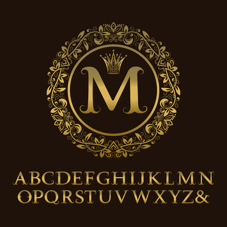 Tendrils gold letters with M initial monogram. Baroque style font for design. Isolated english vintage alphabet.