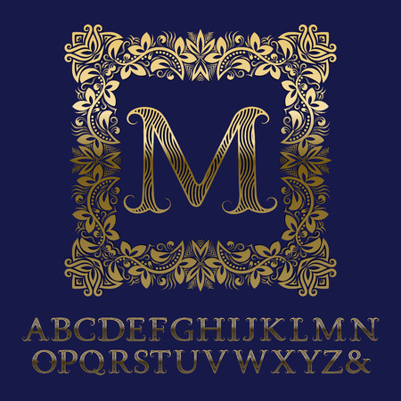 Wavy striped gold letters and initial monogram in square floral frame. Elegant font for icon design. Isolated English vintage alphabet.