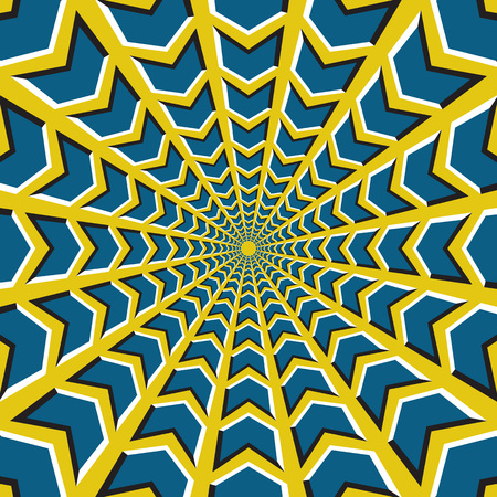 Optical illusion background. Blue arrows fly circularly to the center on yellow background. Illustration