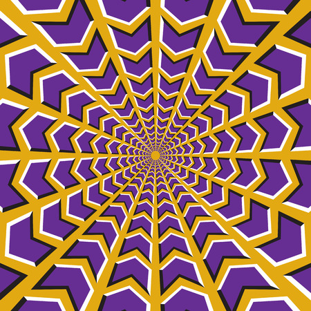 Optical illusion background. Purple arrows fly in two directions to the center and from on yellow background. Illustration
