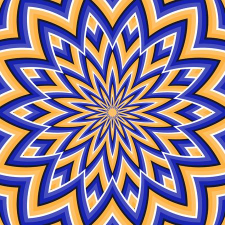 Optical illusion background. Blue orange moving flower.
