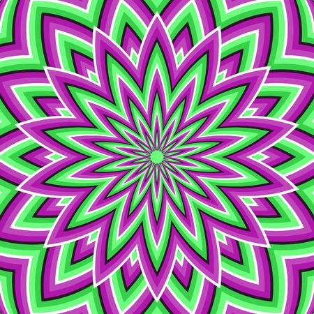 Optische illusie achtergrond. Paars groen bewegende bloem. Stock Illustratie