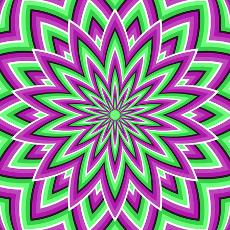 Optical illusion background. Purple green moving flower.