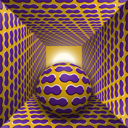 Optical motion illusion illustration. A sphere are moving through square tunnel. Purple clouds on golden objects. Abstract fantasy in a surreal style.