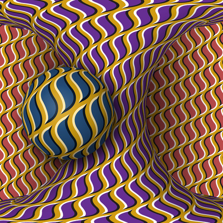 Optical motion illusion illustration. A sphere are rotation around of a moving hyperboloid. Abstract fantasy in a surreal style.