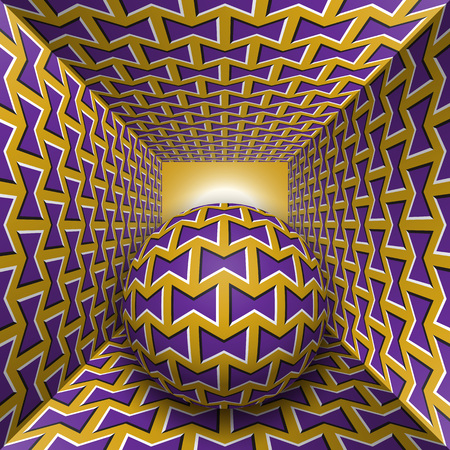 Optical motion illusion illustration. A sphere are moving through square tunnel. Purple bows on golden objects. Abstract fantasy in a surreal style.