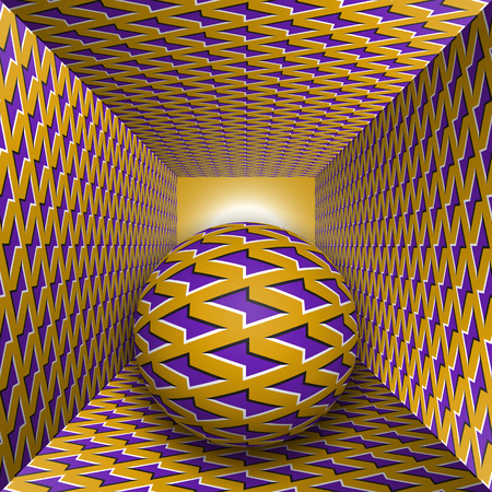 Optical motion illusion illustration. A sphere are moving through square tunnel. Purple lightnings on golden objects. Abstract fantasy in a surreal style.