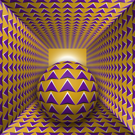 Optical motion illusion illustration. A sphere are moving through square tunnel. Purple arrows on golden objects. Abstract fantasy in a surreal style.