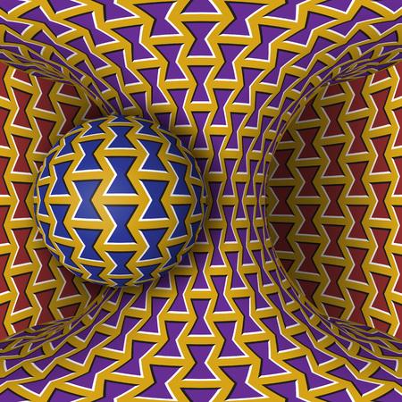 錯視イラスト。球は、移動する双曲面の回転です。シュールなスタイルで抽象的なファンタジー。
